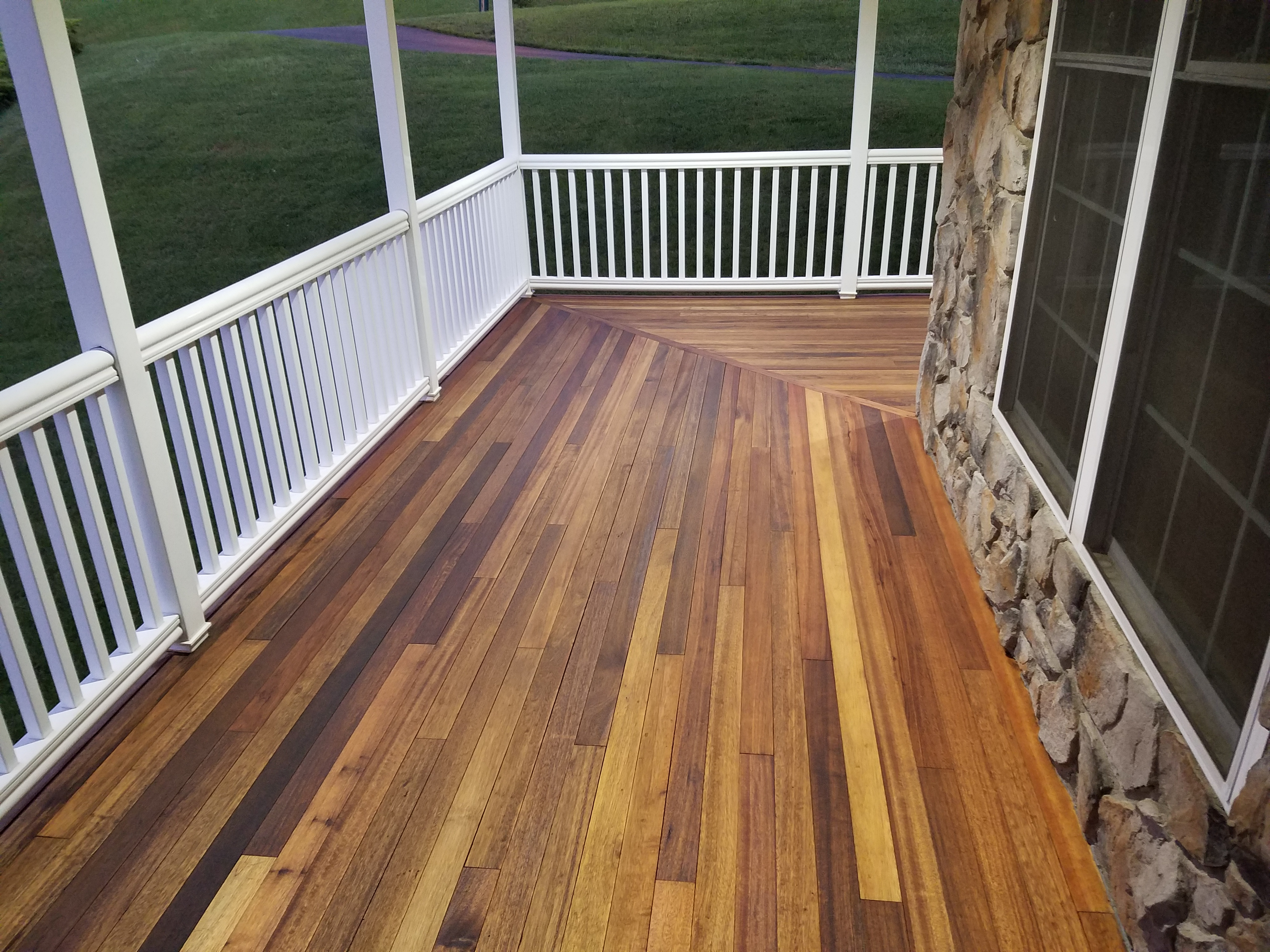 Finished Mahogany Porch With Penofin For Hardwood Deck